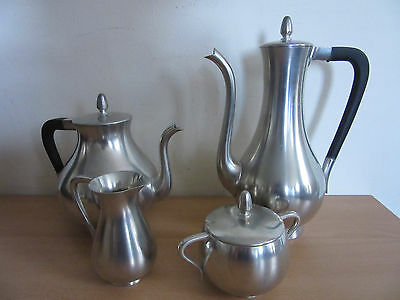 Mid Century Modernist KMD Tiel Royal Holland 7pc Pewter Coffee / Tea Service