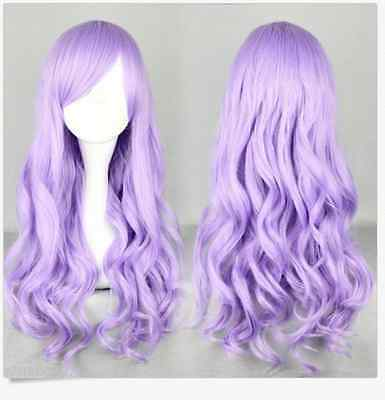 Lolita Long Purple Wavy Curly Full  Wigs Cosplay Costume Party HAIR Bangs Wig