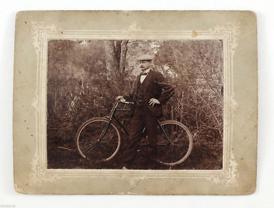 1910s Imperial Russia Elegant Man posing with BICYCLE Russian Antique Photo