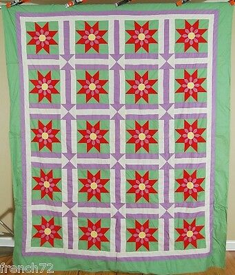 EYE CATCHING Vintage 30's Star Flower & Arrows Antique Quilt Top ~MINT CONDITION
