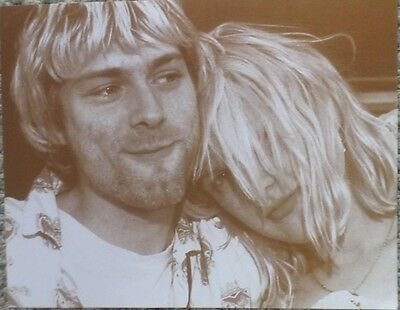 Kurt Cobain and Courtney Love together in love Sepia Poster