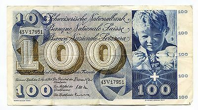 Switzerland 100 franc P-49f  nice VF+ note