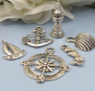 6 NAUTICAL Charms, Assorted Tibetan Antique Silver Charm Collection Set Marine