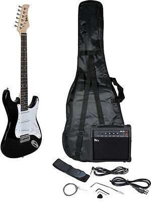 Starter Electric Guitar Package Full Size Gigbag 10w Amp Cord Strap