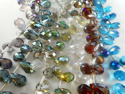 1 Str 12x8mm Top-Drilled Drop Chinese Crystal Beads (25 beads) You Pick Color