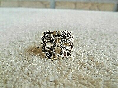 .925 Sterling Silver Beautiful With Large Fancy Style Ring Size 9-3/4 Mexico