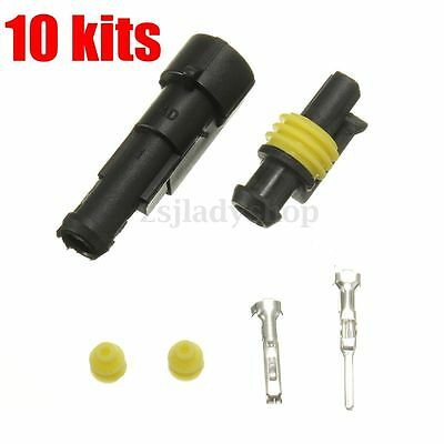 10 Pcs 1 Pin Way Car Truck Sealed Waterproof Electrical Wire Auto Connector Plug