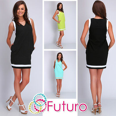 Womens Casual Mini Dress With Pockets V Neck Sleeveless Tunic Size 8 - 10 FA409