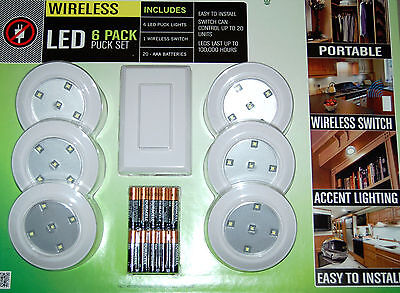 LightMates 6 Pack LED Puck Light Set w/ Remote Wall Switch & Batteries NEW!