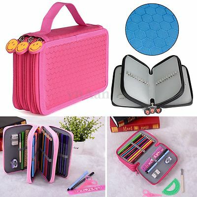 3 Layer Stationery Oxford Pencils Pens Case Makeup Pouch Storage Bag Holder NEW