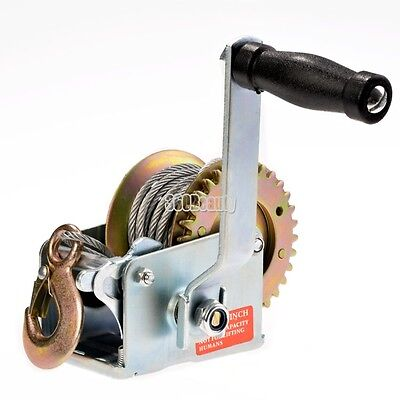 Heavy Duty 600 lbs Hand Cable Winch Hand Crank Gear Winch ATV Boat Trailer