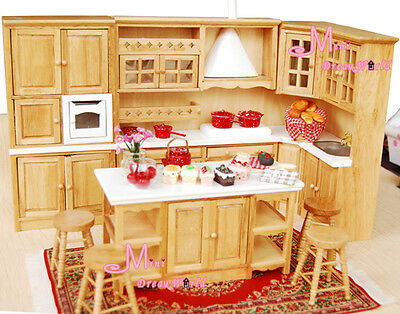 OAK Dining Kitchen Cabinet Island Cupboard Stool 8PCS Dollhouse Miniature WD11P
