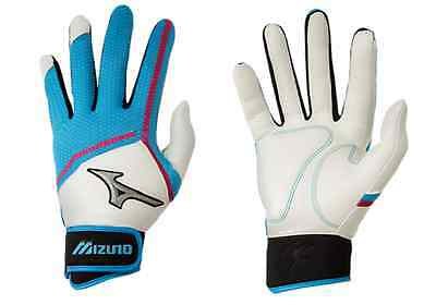 Mizuno Finch Women's Fastpitch Softball Batting Gloves NEW 330354 White/Blue XL