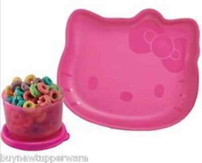 Tupperware Hello Kitty Snack Collection Embossed Plate & 4oz Snack Cup Pink New