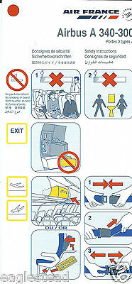 Safety Card - Air France - A340 300 Portes 3 Types A - 2004  (S3654)