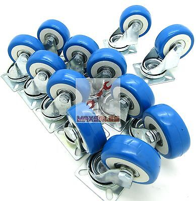 "12pc 2"" Swivel Caster Polyurethane Wheels Base Top Plate Double Ball Bearing"