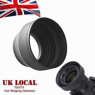 52mm 3-Stage Collapsible 3in1 Rubber Lens Hood for Nikon Pentax DSLR Camera