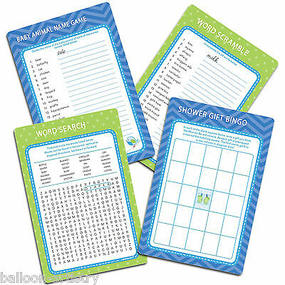 Blue Boy's New Baby Shower With Love Party Game Fun Activity Set