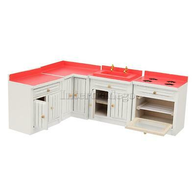 1/12 Miniature Furniture Wood Kitchen Combination Cabinet Set For Dollhouse