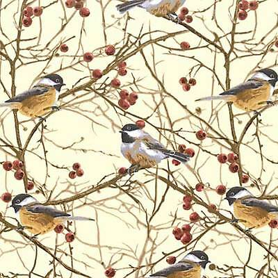 Chickadees/Berries/Twigs QUILT FABRIC by Timeless Treasures  NATURE #C7206