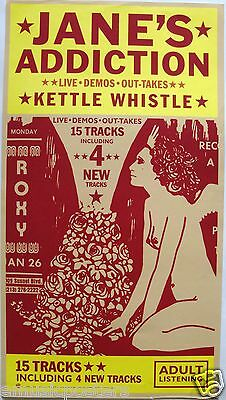 """JANE'S ADDICTION """"KETTLE WHISTLE"""" U.S. PROMO POSTER-Drawing Of Nude Girl & Roses"""