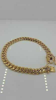 Solid 14k Gold Miami Cuban Curb Mens Bracelet 7.00mm Wide Made In Italy
