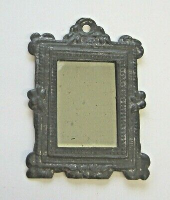German Antique early doll house large tin pewter decorative embossed mirror