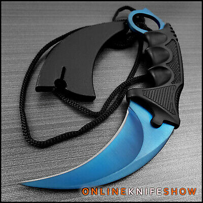 TACTICAL BLUE COMBAT KARAMBIT NECK KNIFE Survival Hunting BOWIE Fixed Blade FADE