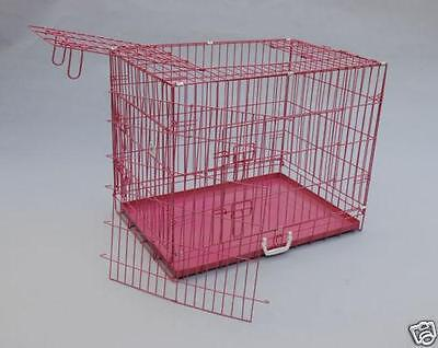 """Pink 36"""" 3 Doors Folding Suitcase Dog Crate Cat Cage Kennel w/DIVIDER Metal Pan"""