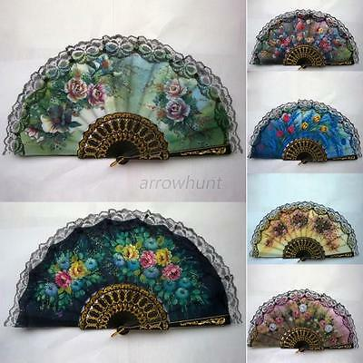 Vintage Style Floral Lace Hand Fan Fabric Cloth Mini Fan Pocket Folding Fans Hot