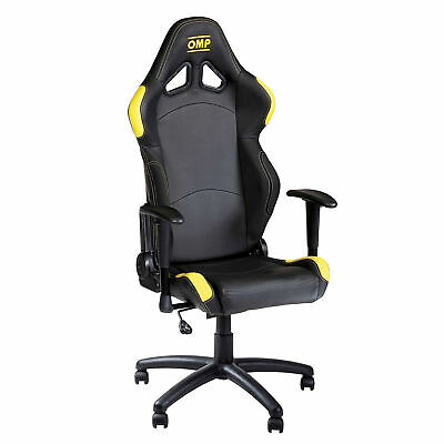 OMP Wheeled Swivel Racing Office Seat / Chair - Faux Leather - Black / Yellow