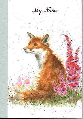 Wrendale Designs Country Set  A6 Small Notebook shadow fox & foxgloves