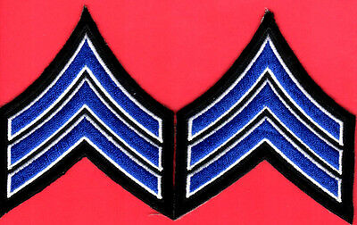 """One ( 1 ) Pair of Sergeant Sgt. Stripes ( New York Colors )  2-1/2"""" x 3-1/2"""""""