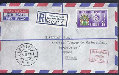RHODESIA, 1966  2/6d INDEPENDENCE FDC, TO DENMARK, SHORT NOTE INSIDE, REF STAMP