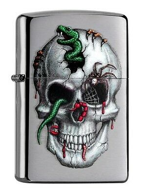 "Zippo ""skull With Snake"" Brushed Chrome Lighter / 60000994 *new In Box* 2016 !!"