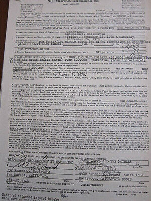 FRANK ZAPPA Mothers Of Invention Concert contract 1970 San Rafael California