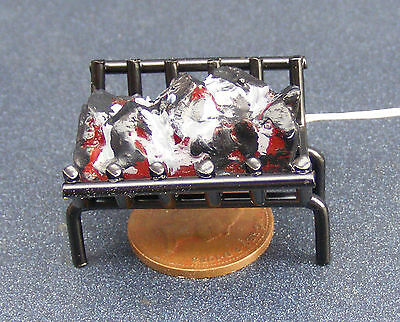 1:12 Doll House Miniature Accessory 12v Working Coal Fire In A Black Metal Grate