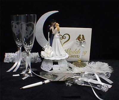 Country Western Cowboy LOT  Wedding Topper Cake Knife Server Glasses Guest Book