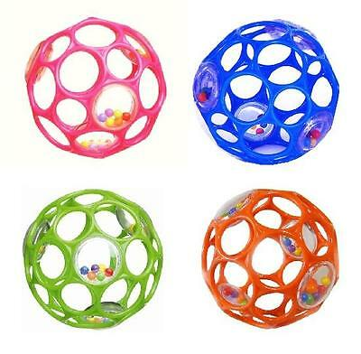 """Rhino Toys 4"""" Infant Baby Silicone Oball Rattle Ball"""