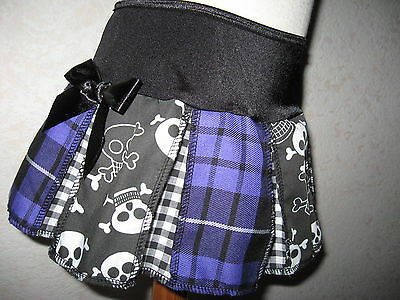 New COOL Baby Girls Black white purple skulls tartan check  pleated party Gift