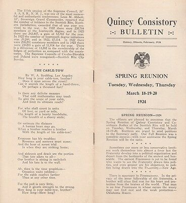 February 1924 Quincy Consistory Bulletin Masonic Lodge Quincy IL