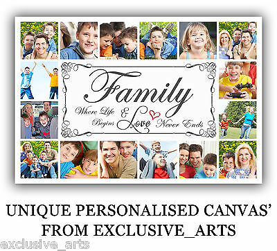 Photo/picture Montage Collage Family Gift Framed Personalised Inch Canvas