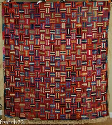 AMAZING Vintage 1890's Roman Stripe Log Cabin Antique Quilt ~COLORFUL!