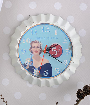 Wall Clock Shabby Chic Vintage Watch Usa Advertisement Kitchen Clock