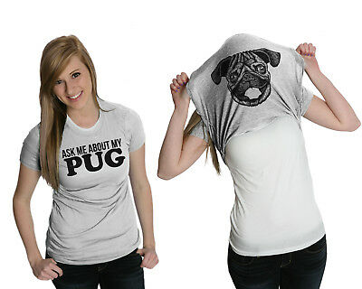 Womens Ask Me About My Pug Funny Dog Flip Up T shirt for Ladies (Heather Grey) -