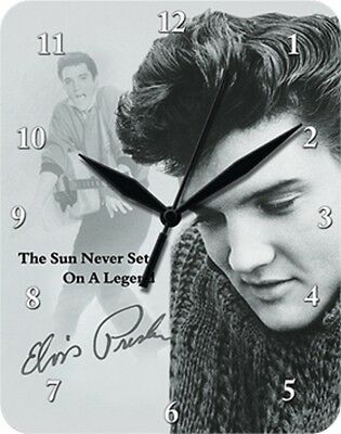 ELVIS PRESLEY THE SUN NEVER SETS ON A LEGEND - Blechuhr Wanduhr Uhr Clock 80