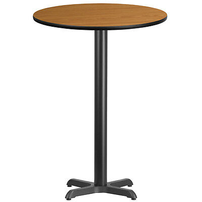 30'' Round Natural Laminate Table Top With 22'' X 22'' Bar Height Base