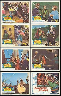 DEVIL-SHIP PIRATES orig 1964 lobby card set CHRISTOPHER LEE 11x14 movie posters