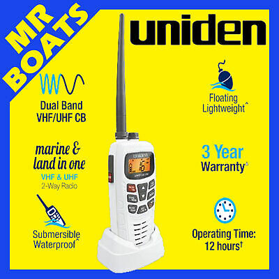 Uniden Waterproof Mhs155Uv Vhf/uhf Cb 2 Way Radio White 2.5 Watts Suit Boat Ship