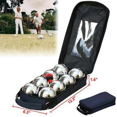 8Pcs Steel French Boules Set Petanque Balls Outdoor Garden Game Free Carry Ca
